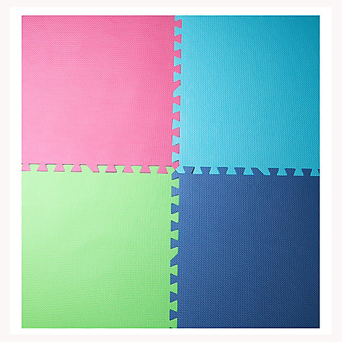 Pink, Blue, Green and Navy 24-inch X 24-inch Anti-Fatigue Interlocking Mats (4-Pack)