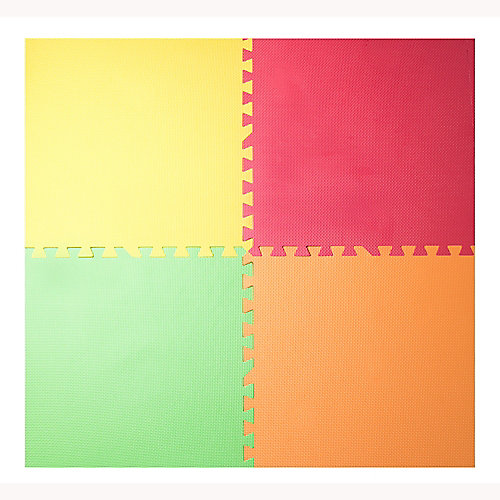 Yellow, Red, Green and Orange 24-inch X 24-inch Anti-Fatigue Interlocking Mats (4-Pack)