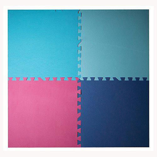Ensemble de 4 tapis entrecroisés antifatigue, 24 po x 24 po, bleu, aqua, fuchsia, rose