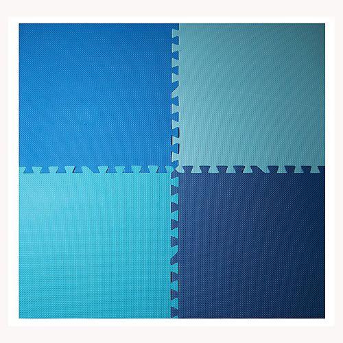 Ensemble de 4 tapis entrecroisés antifatigue, 24 po x 24 po, bleu