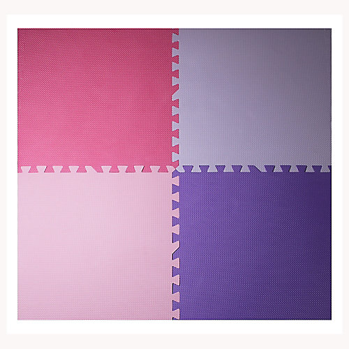 Pink and Purple 24-inch X 24-inch Anti-Fatigue Interlocking Mats (4-Pack)