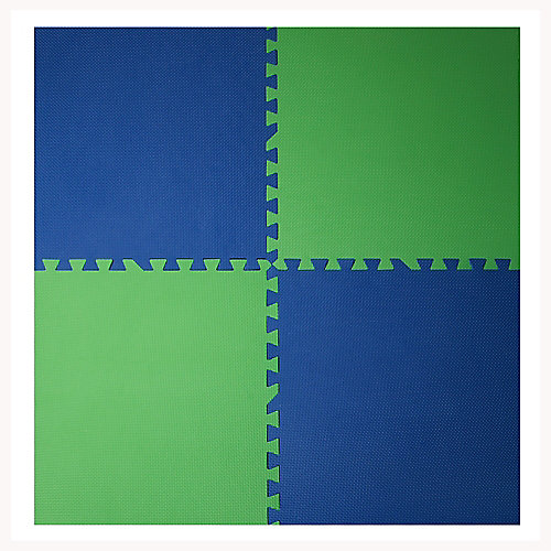 Navy and Green 24-inch X 24-inch Anti-Fatigue Interlocking Mats (4-Pack)