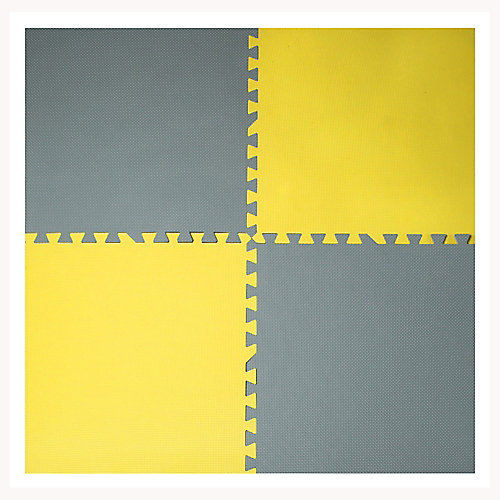 Grey and Yellow 24-inch X 24-inch Anti-Fatigue Interlocking Mats (4-Pack)