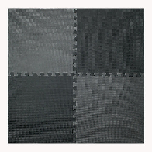 Grey and Black 24-inch X 24-inch Anti-Fatigue Interlocking Mats (4-Pack)