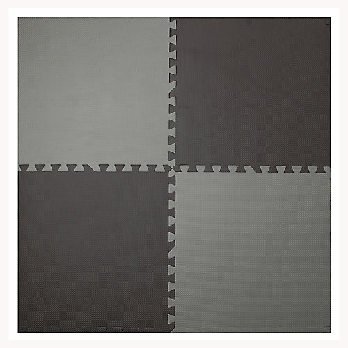 Brown and Taupe 24-inch X 24-inch Anti-Fatigue Interlocking Mats (4-Pack)