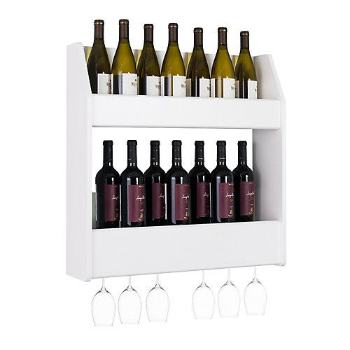 Étagère à vin et à liqueur flottante à 2 étages, blanc