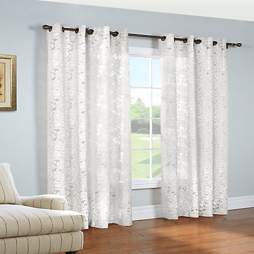 Charlotte printed floral burnout, grommet panel, white 52in x 84in