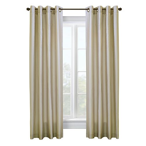 Classic Stripe tonal lined, grommet panel, white 52in x 95in