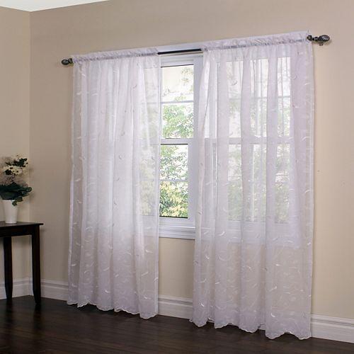 "Habitat Hathaway Sheer Rod Pocket Curtain Panel - 54"" W x 96"" L in White"