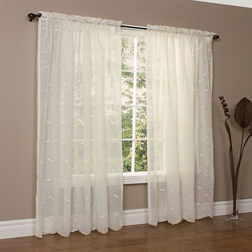 Rideau à passe-tringle Hathaway transparent - largeur 137 cm x longueur 160 cm, Crème