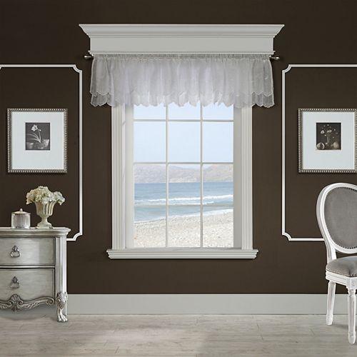 Hathaway brodé à motif de rouleau, cantonnière à passe-tringle à ourlet festonné, blanc 137cm x 43cm
