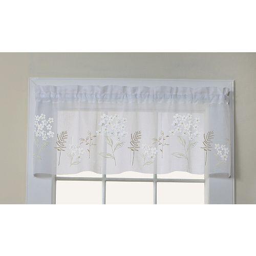 Hydrangea cantonnière faux lin à passe-tringle ornée d'appliques florales, blanc 137cm x 41cm