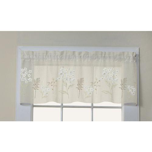 Hydrangea cantonnière faux lin à passe-tringle ornée d'appliques florales, creme 137cm x 41cm