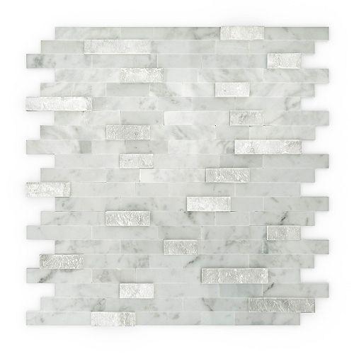 Tuile de mosaÏque pour murs Camarillo, 11,77 po x 11,57 po x 0,32 po, marbre, blanc
