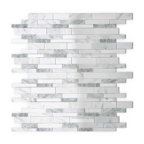 Tuile de mosaÏque pour murs Gray Agate, 11,65 po x 11,34 po x 0,2 po, marbre, blanc