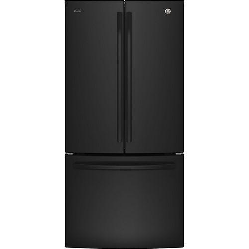 33 po 24,8 pi.cu. Réfrigérateur à porte française à fond noir