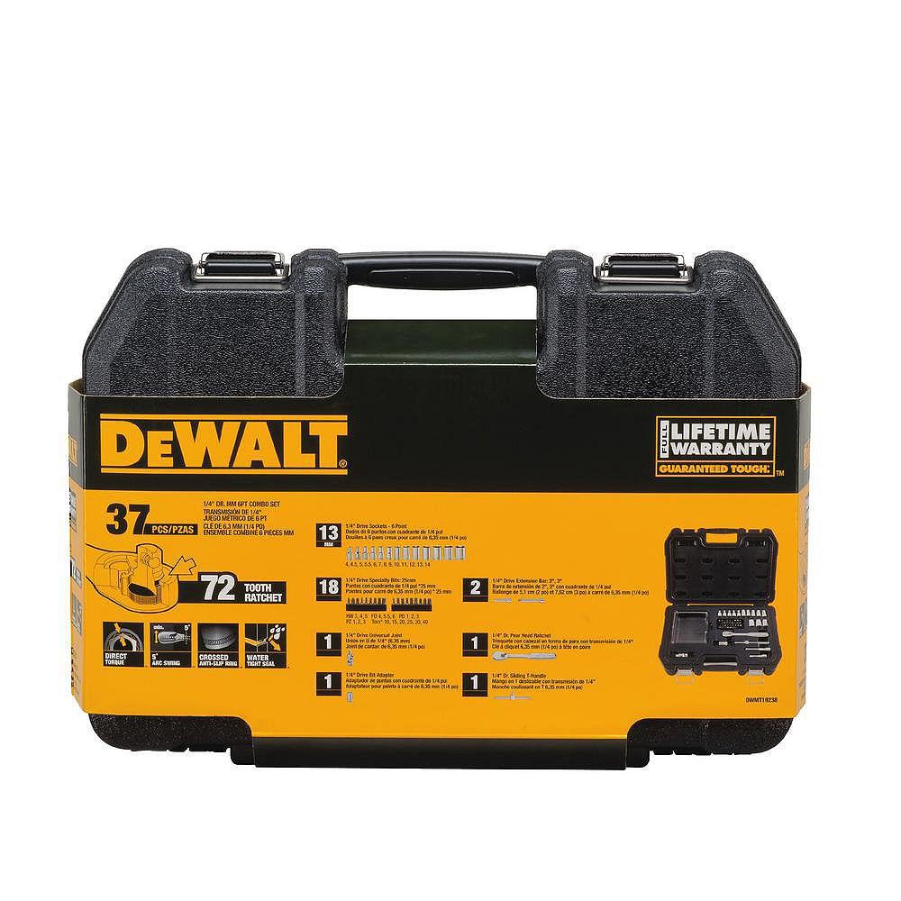 DEWALT 1/4-inch Drive Metric Socket Set with Ratchet (37-Piece)