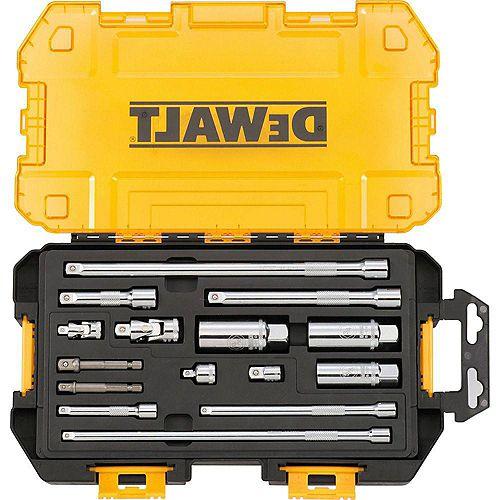 Jeu d'accessoires pour outils d'entraînement de 1/4 et 3/8 de pouce avec étui (15 pièces)