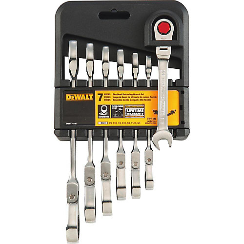 SAE Ratcheting Flex Head Combination Wrench Set (7-Piece)