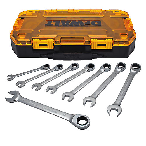 Full Polish Ratcheting Combination Metric Wrench Set (8 Piece)