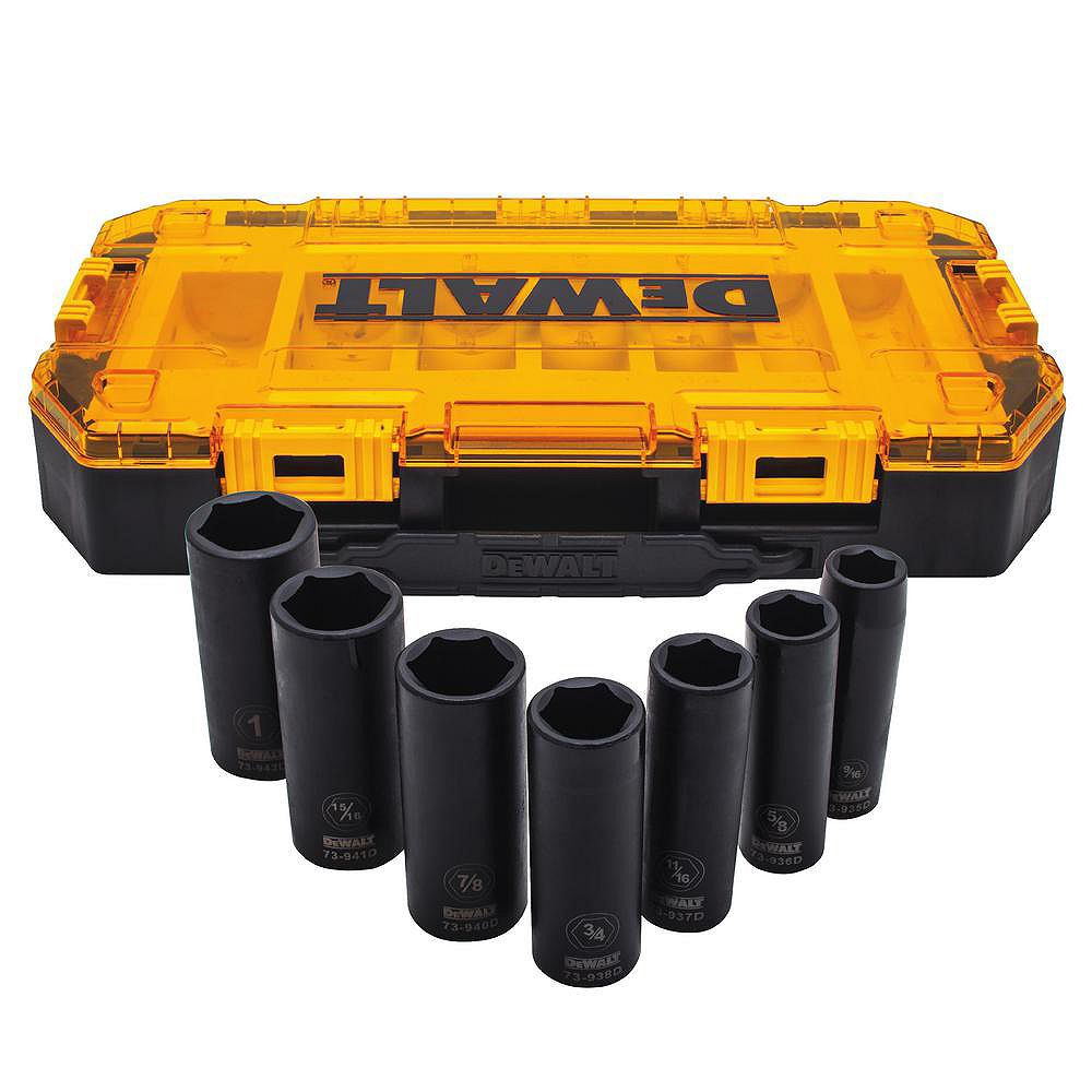 DEWALT 1/2-inch Drive SAE Deep Impact Socket Set (7-Piece)