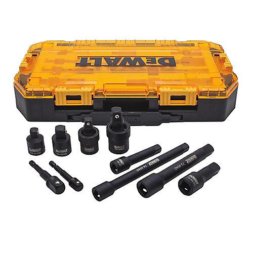 Jeu d'accessoires à choc à prise de 10 pièces de 12.7mm (1/2po) et de 9.53mm (3/8po)