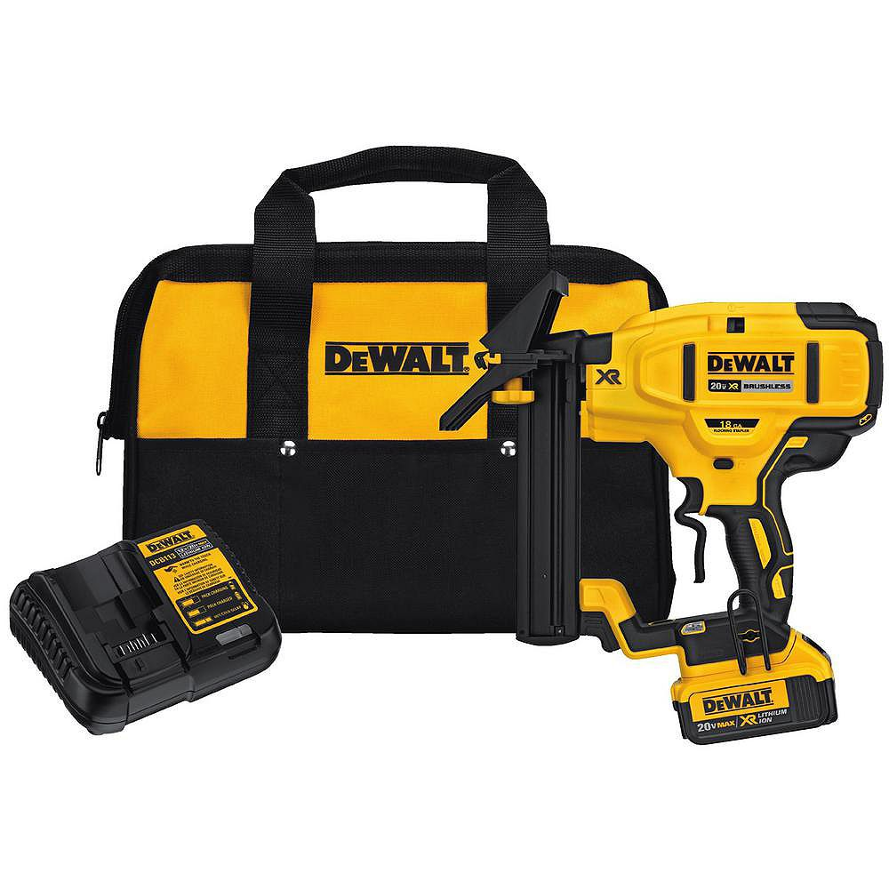 DEWALT 20V MAX XR Lithium-Ion Cordless 18-Gauge Flooring Stapler with Battery 4Ah, Charger and Contractor Bag