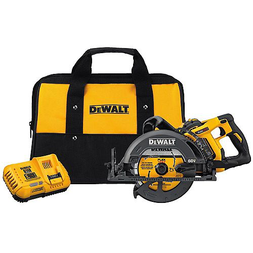 DEWALT FLEXVOLT 60V MAX Lithium-Ion Cordless Brushless 7-1/4-inch Wormdrive Style Circ Saw w/ Battery 3Ah, Charger and Bag
