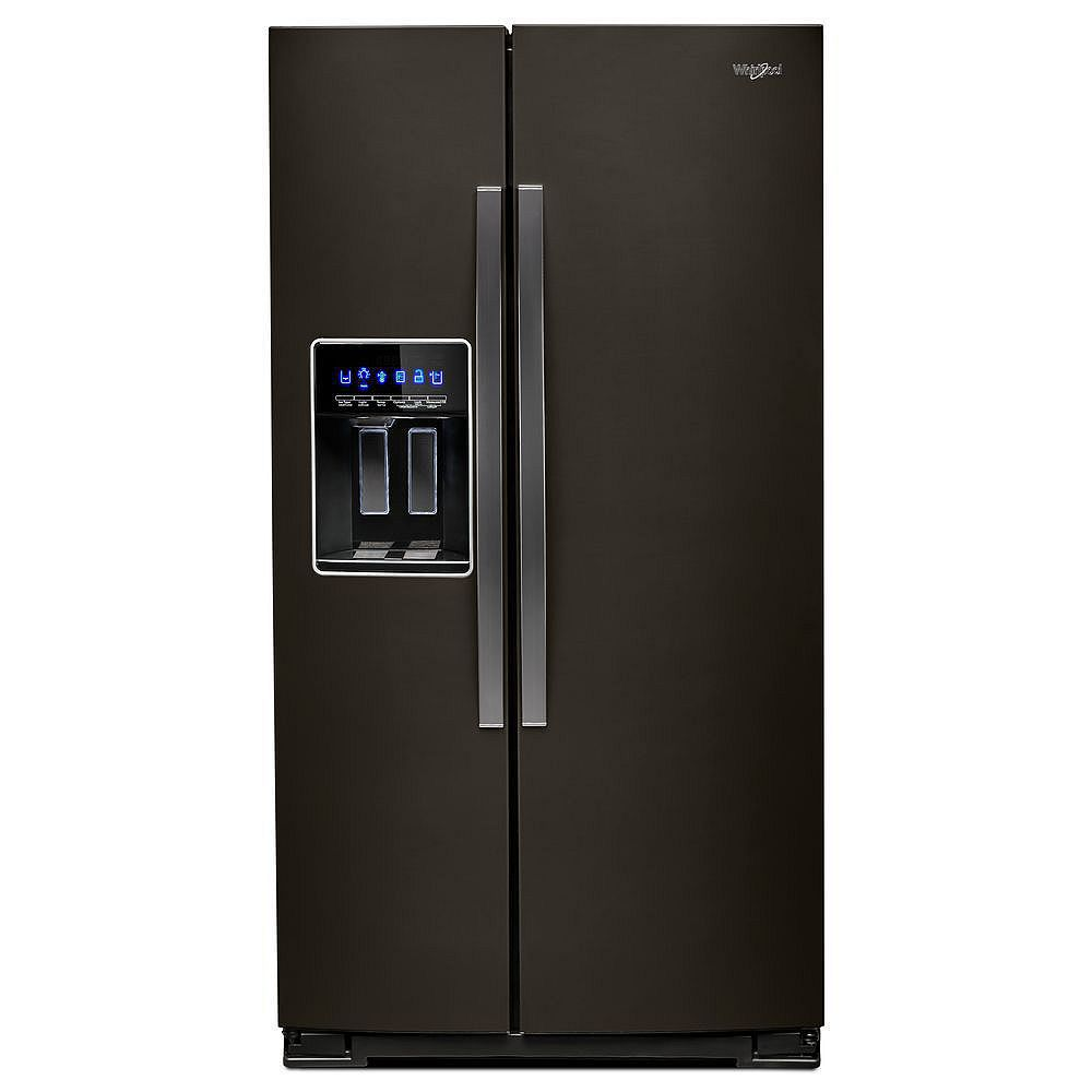 Whirlpool 36-inch W 21 cu. ft. Side by Side Refrigerator in Fingerprint Resistant Black Stainless Steel, Counter Depth