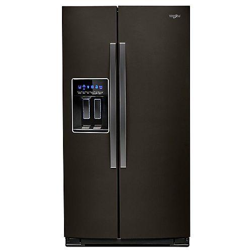 36-inch W 21 cu. ft. Side by Side Refrigerator in Fingerprint Resistant Black Stainless Steel, Counter Depth