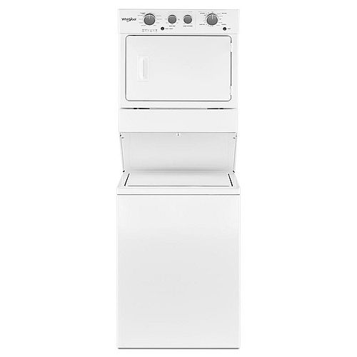 Stacked 4.0 cu. ft. Washer and 5.9 cu. ft. Gas Dryer in White