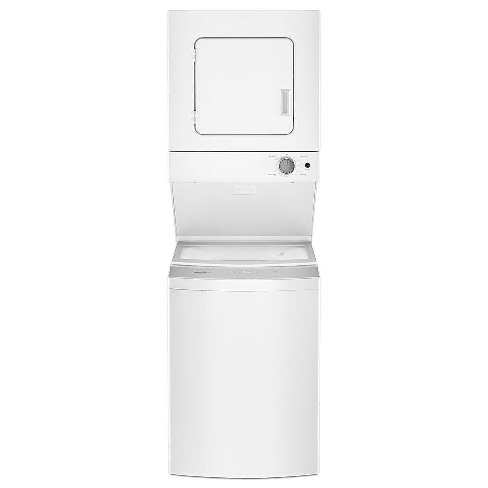 Whirlpool Stacked 1.8 cu. ft. Washer and 3.4 cu. ft. Electric Dryer in White