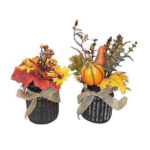 Vase décoratif avec fleurs, verre, 7 po
