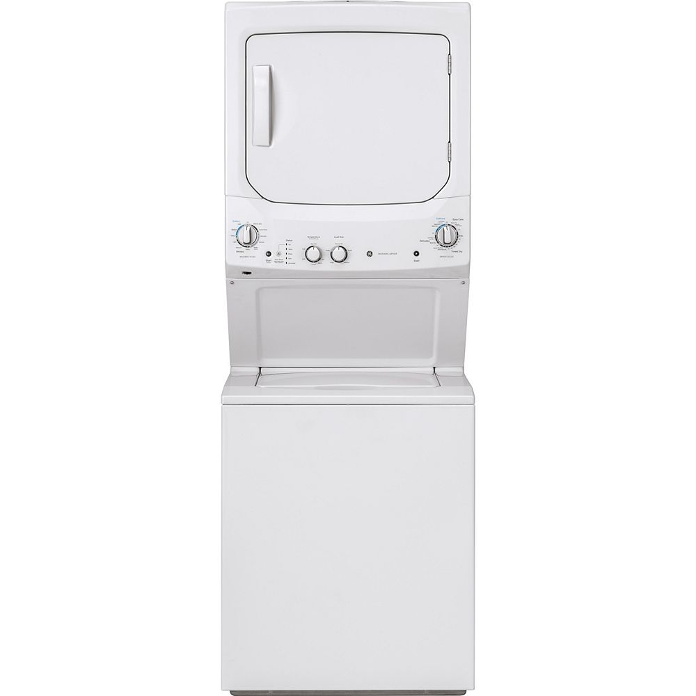 GE Spacemaker Unitized Apartment Size 27-inch Stacked Washer and Dryer Laundry Centre in White