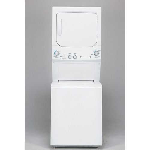 GE Gas Unitized Apartment Size 27-inch Stacked Washer and Dryer Laundry Centre in White