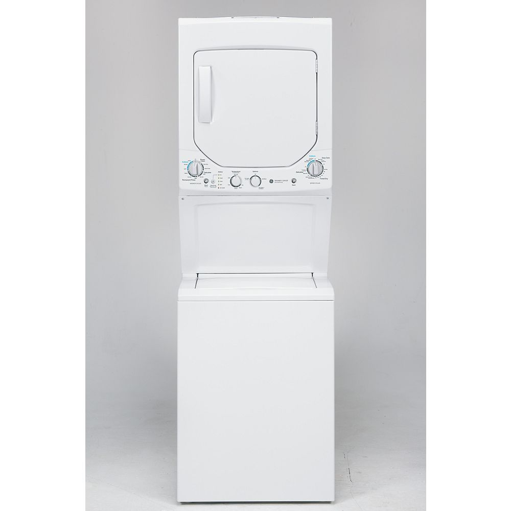 GE Unitized Apartment Size 24-inch Stacked Washer and Dryer Laundry Centre in White