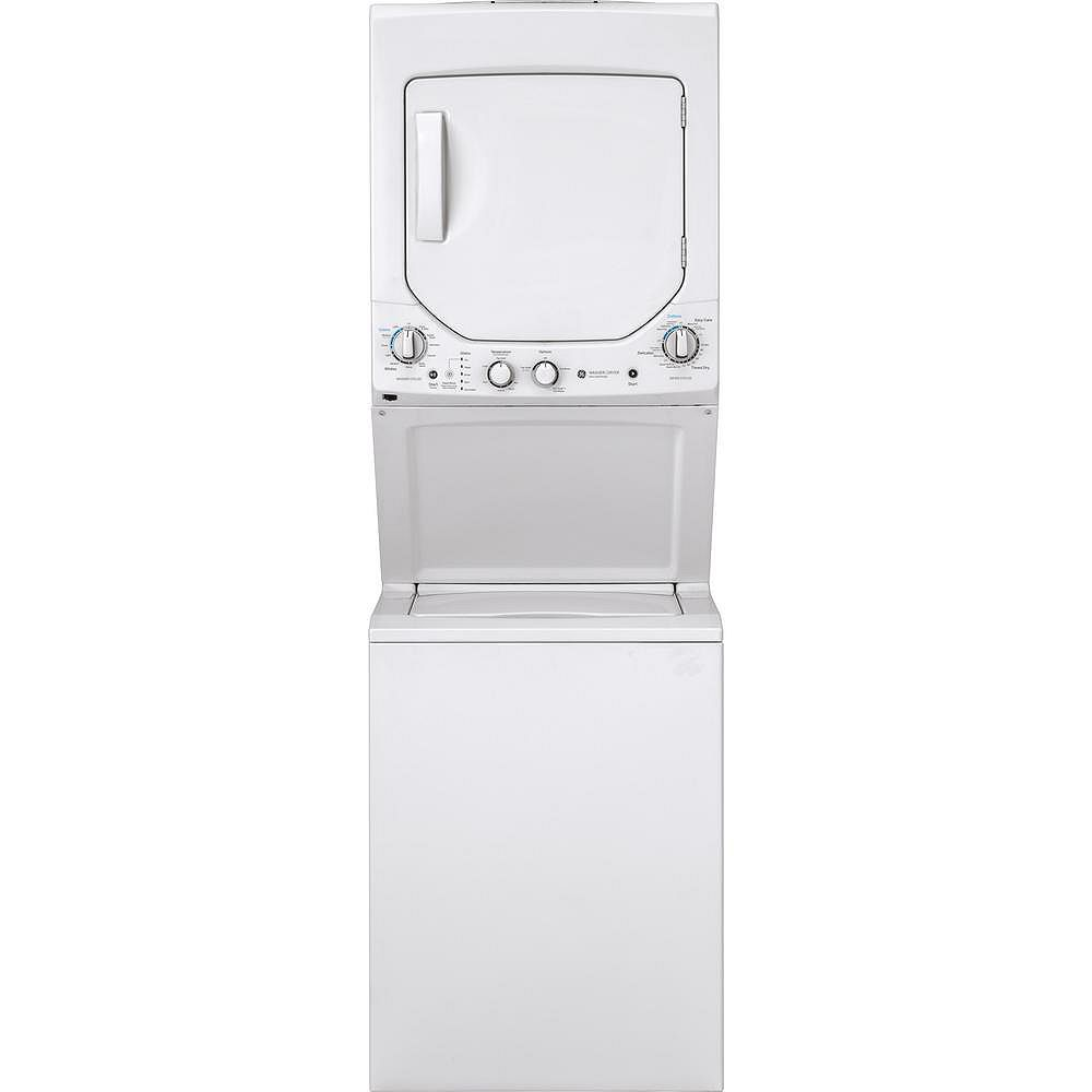 GE Unitized Apartment Size 24-inch Stacked Washer and Dryer (Gas) Laundry Centre in White