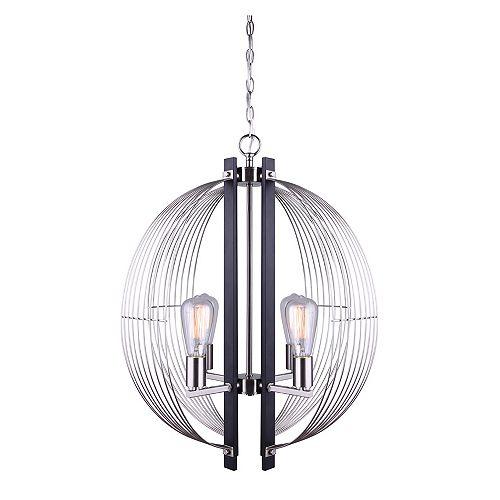 MARLIN lustre sphère à quatre lumières en noir mat et nickel brossé