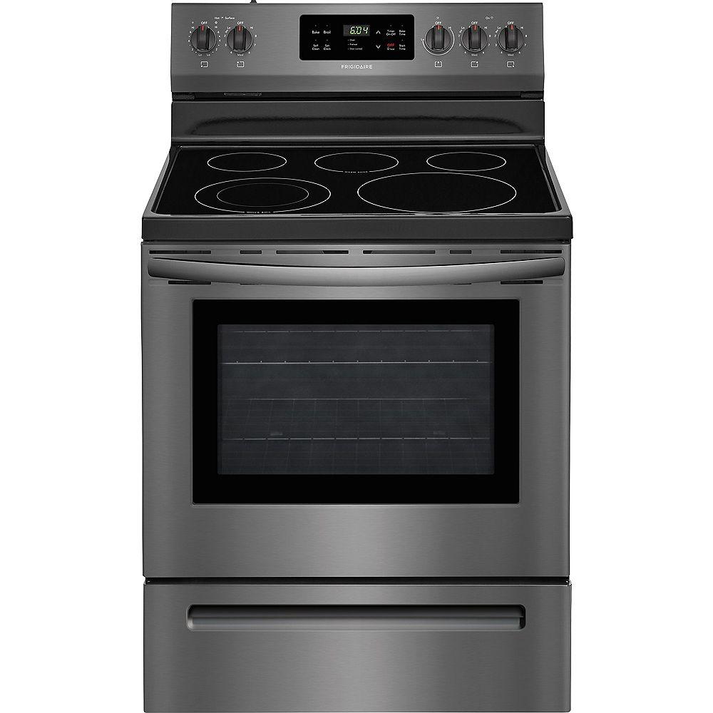 Frigidaire Cuisinière électrique avec autonettoyant, 30 po, 5,3 pi3, acier inoxydable noir