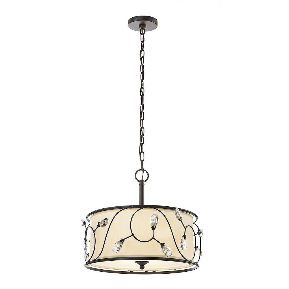 Home Decorators Collection Maria 3-Light 15.75-inch Bronze Florence Drum Pendant Light Fixture