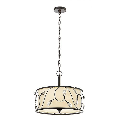 15,75 po (40 cm). Luminaire à suspension Maria, forme tambour, 3 lumières, bronze Florence
