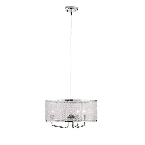 18 po (45,72 cm). Luminaire à suspension Mel, chromé, 3 lumières