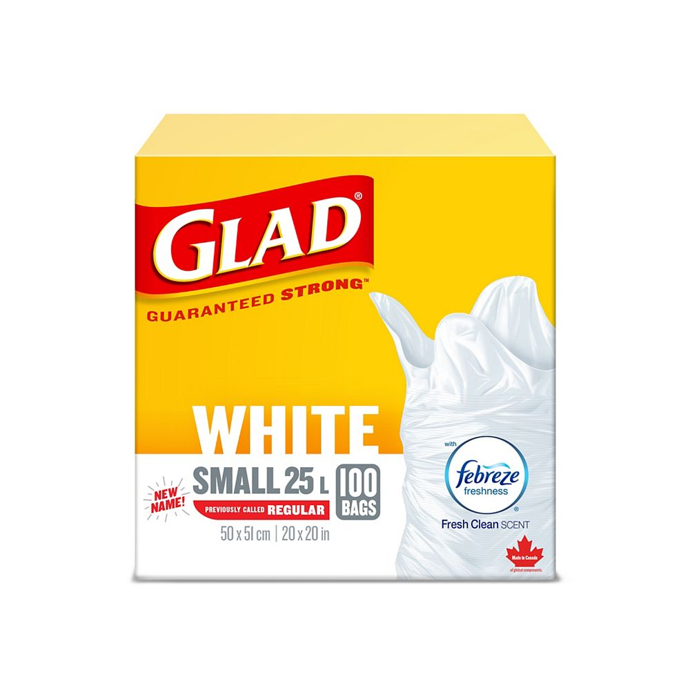 Glad White Garbage Bags - Small 25 Litres - Febreze Fresh Clean Scent, 100 Trash Bags
