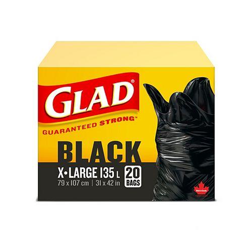 Glad Très grands sacs à ordures noirs de, boîte de 20 sacs à ordures de 135 L
