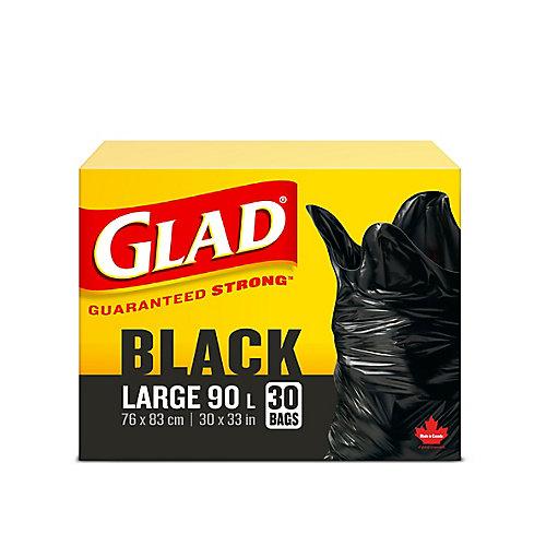 Grands sacs à ordures noirs de, boîte de 30 sacs à ordures de 90 L