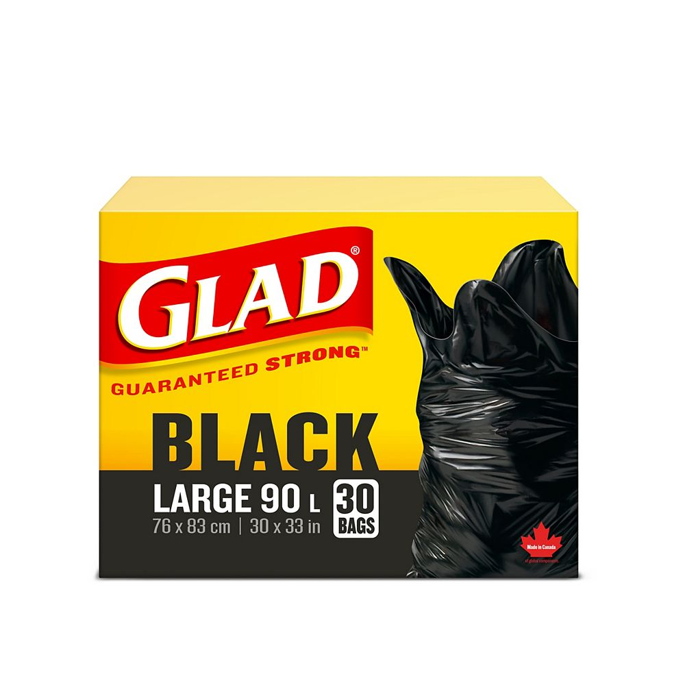 Glad Black Garbage Bags - Large 90 Litres- 30 Trash Bags