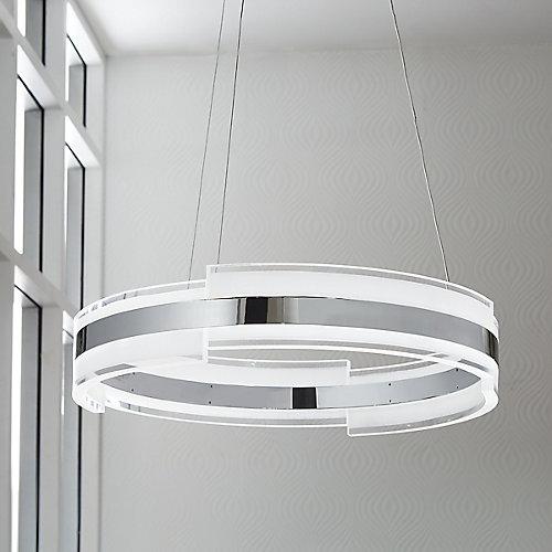Luminaire suspendu circulaire, chrome et acrylique, à DEL