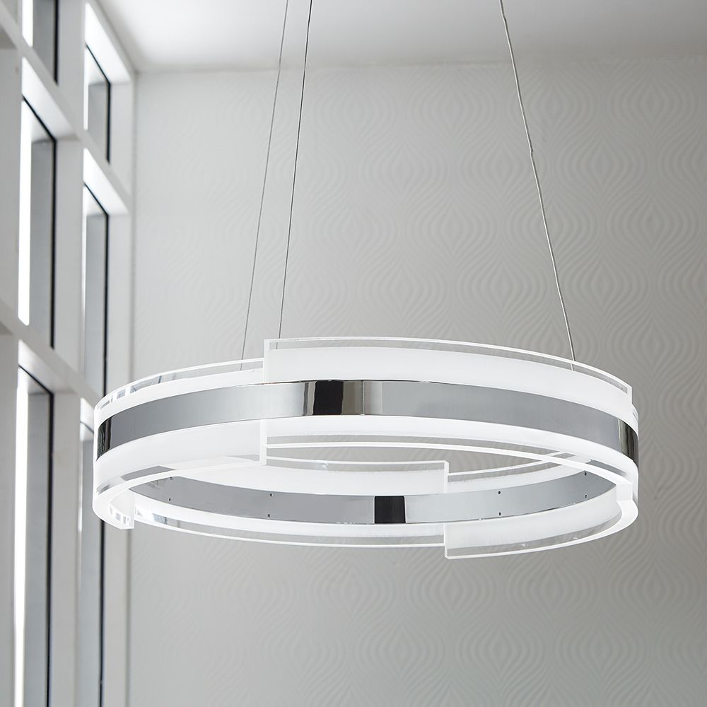 Home Decorators Collection Circular Chrome And Acrylic Led Pendant The Home Depot Canada