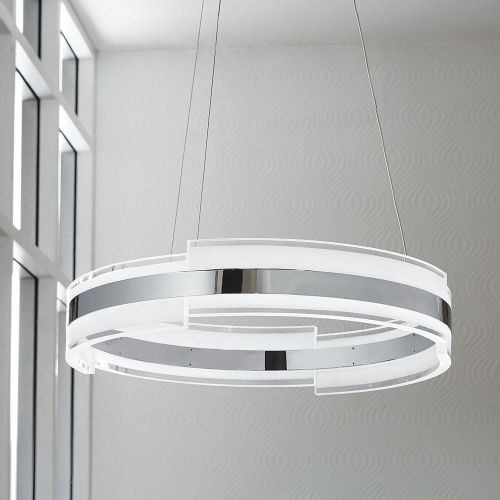 Circular Chrome and Acrylic LED Pendant