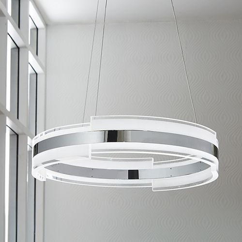 Circular Chrome and Acrylic LED Pendant